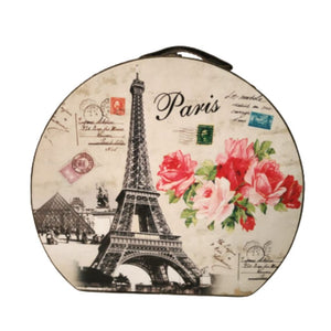 Large vintage storage hatbox with eiffel tower and floral print Parisian inspired