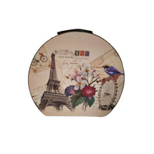 Load image into Gallery viewer, Vintage design storage hatbox shaped trunk with eiffel tower, floral and bird print