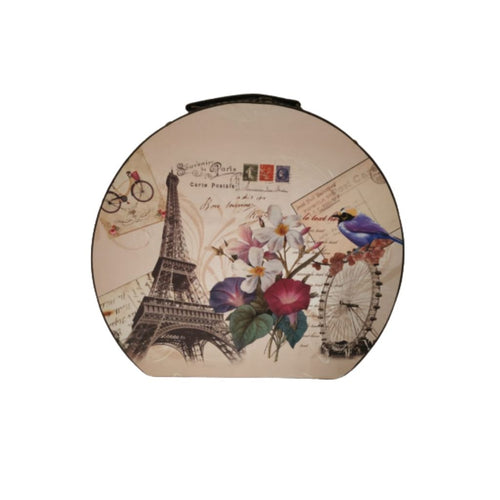 Vintage design storage hatbox shaped trunk with eiffel tower, floral and bird print