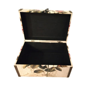 open trunk for storage with floral print