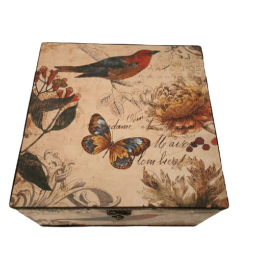 Square medium storage box with vintage bird and butterfly design