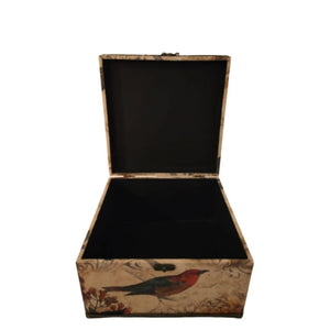 Open storage box with bird print