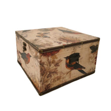 Load image into Gallery viewer, large Vintage bird print storage box trunk