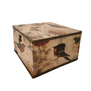 large Vintage bird print storage box trunk