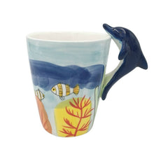 Load image into Gallery viewer, Ceramic mug with dolphin handle
