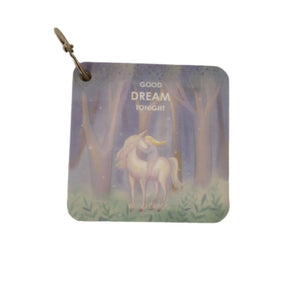 Small memo pad with ring and lavender unicorn print on cover