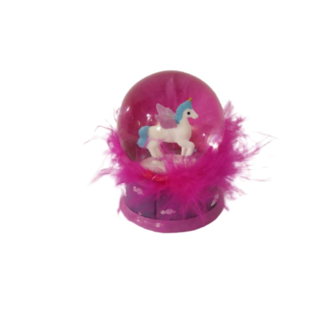 bright pink unicorn snow globe as decor or paper weight