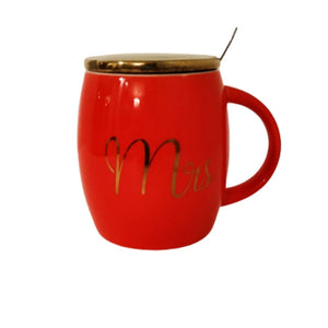 Red ceramic mug with lid and spoon Mrs