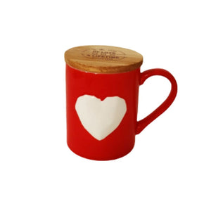Red and white ceramic mug with lid and heart