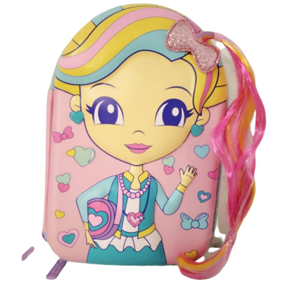 Pink stationery pouch with girl on cover for school