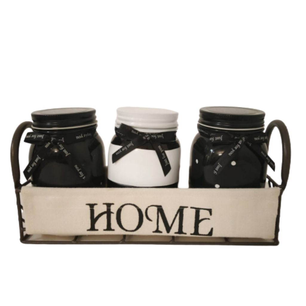 Set of 3 vintage and rustic mason jars in home holder