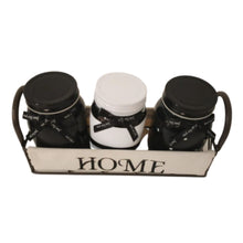 Load image into Gallery viewer, 3 black and white modern yet shabby chic mason jars with tray