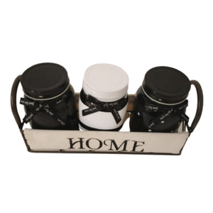 3 black and white modern yet shabby chic mason jars with tray