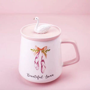ceramic mug with swan lid and ballet print