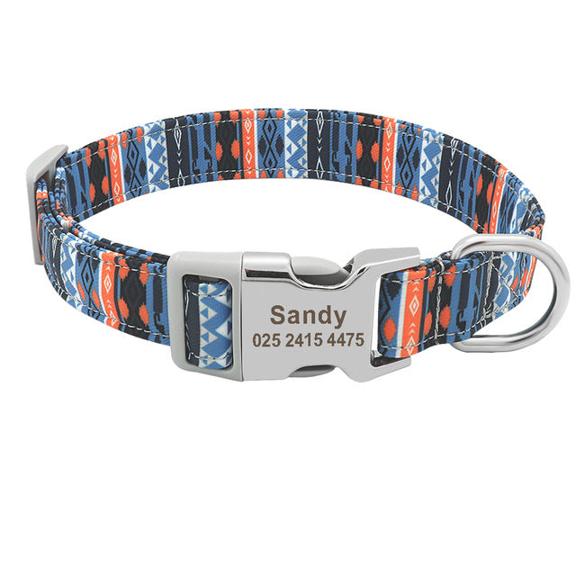 Personalized Printed Pet Collar With Puppy ID & Name - LazySelect