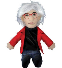 Load image into Gallery viewer, Andy Warhol plush doll, red jacket and glasses, wild hair