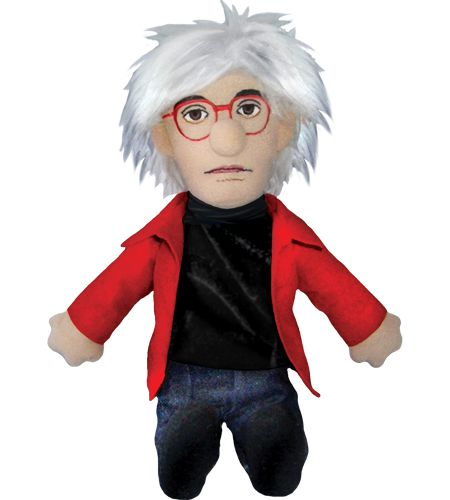 Andy Warhol plush doll, red jacket and glasses, wild hair