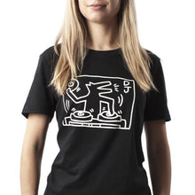 Load image into Gallery viewer, haring black t-shirt, woman wearing dj dog t-shirt, dj dog, keith haring
