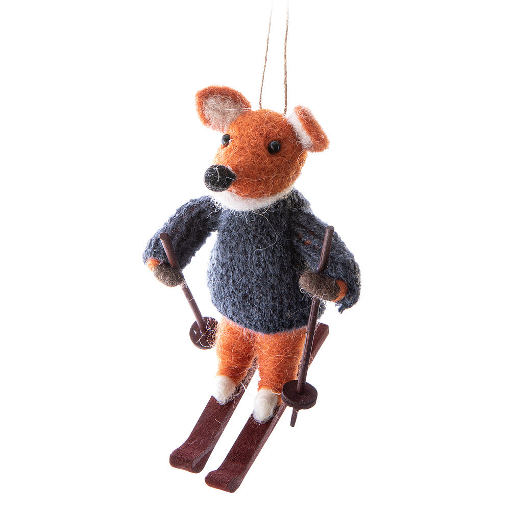 Fox on Skis Ornament
