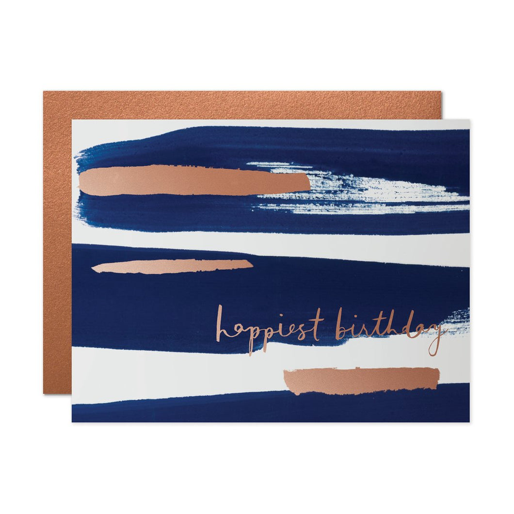 happiest birthday, navy and gold stripes, birthday card
