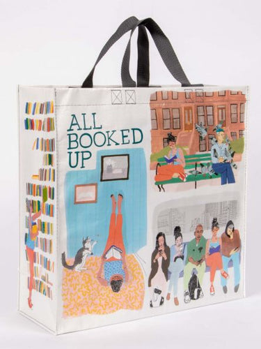 Larde tote bage, girl reading books illustration, library, many reading illustrations,