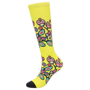 Floral on Yellow Women's Socks