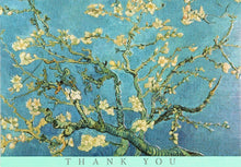 Load image into Gallery viewer, Thank you note cards, Vicent Van Gogh cherry blossom, blue and yellow painting