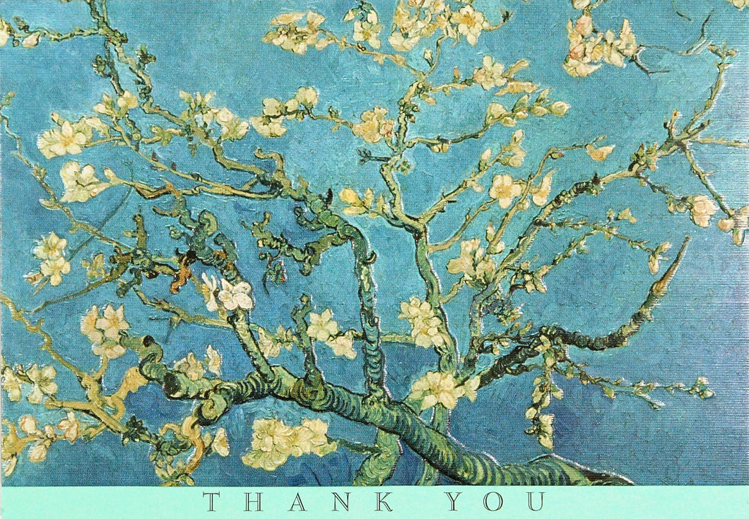Thank you note cards, Vicent Van Gogh cherry blossom, blue and yellow painting