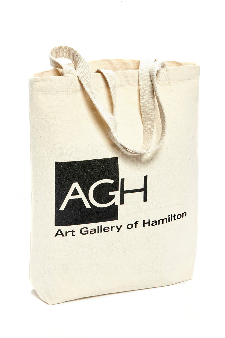 art gallery of hamilton tote bag, white tote bag, black AGH logo design
