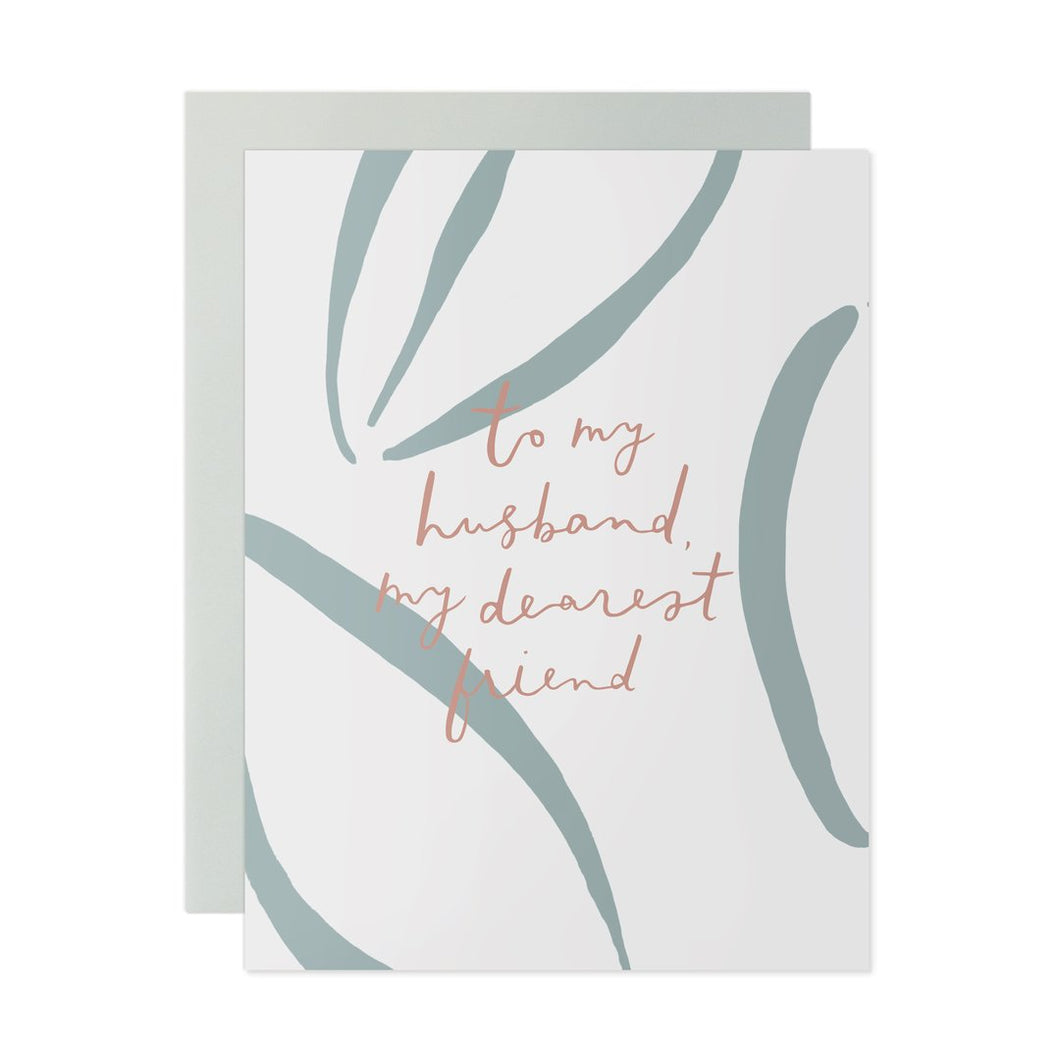 to my husband, my dearest friend white and blue card, any occasion, birthday, anniversary