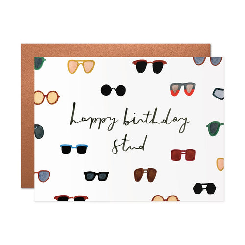 cursive happy birthday stud on white background with variety of illustrated sunglasses, birthday card