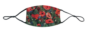 floral face mask, jack bush face mask, jack bush art, poppies, floral