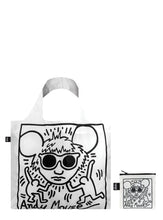 Load image into Gallery viewer, White tote bag, foldable tote, Keith Haring portrait of Andy Warhol, black and white