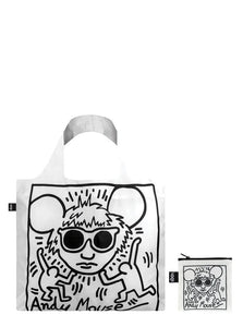 White tote bag, foldable tote, Keith Haring portrait of Andy Warhol, black and white