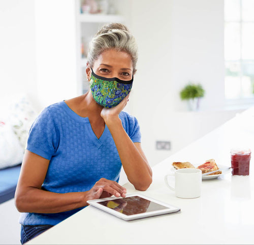 face mask, van gogh irises face mask, blue face mask, art face mask, face mask