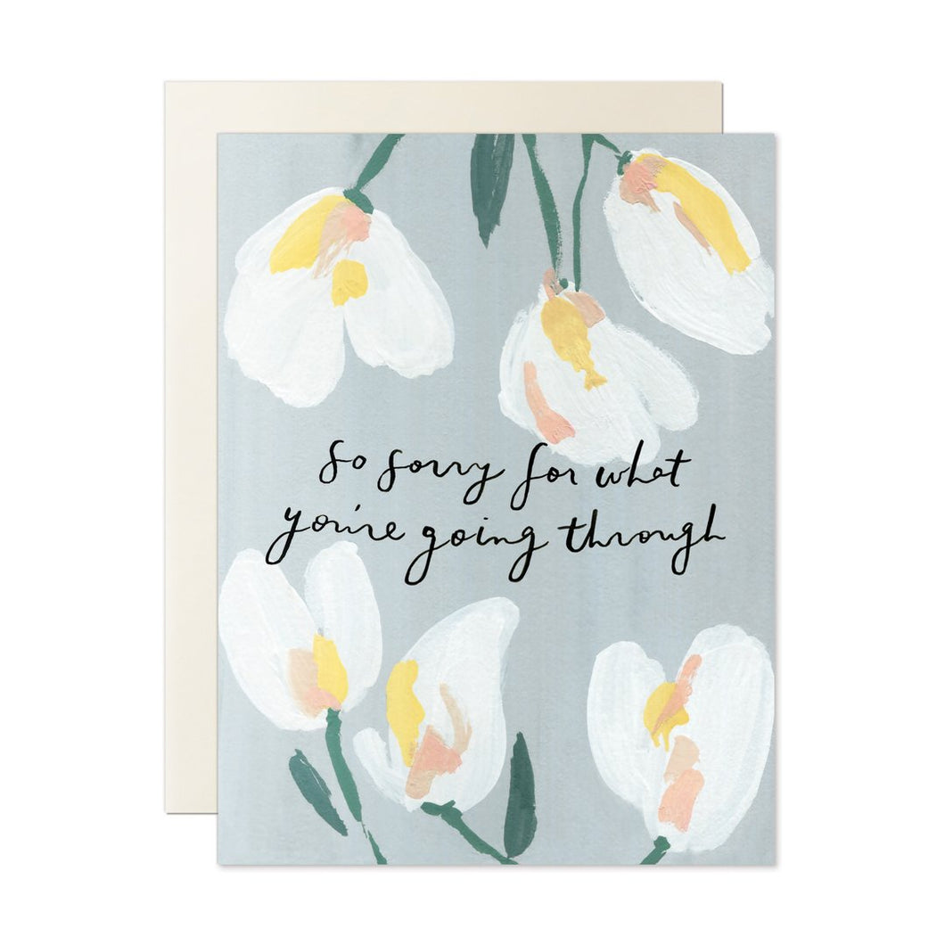 so sorry for what you're going through, our heiday card, sympathy card, painted flowers