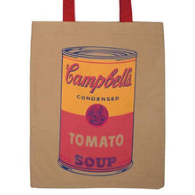 Load image into Gallery viewer, Brown Tote Bag, Andy Warhol Cambell Soup image, Yellow and Pink soup can