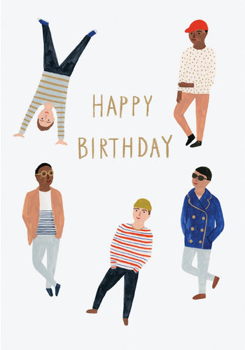 happy birthday with boys, illustrated men on pale blue background