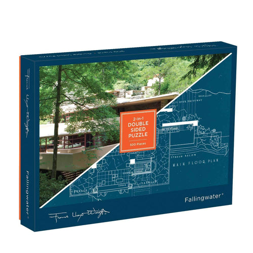 frank llyod wright, puzzle, fallingwater, frank llyod wright double sided 500 piece puzzle