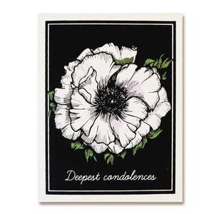 illustrated white flower against black backdrop, cover message- deepest condolences