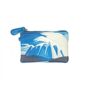 harris coin purse, blue coin purse, lake and mountain coin purse