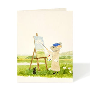 watercolour card, felix doolittle card, painting mouse, painter card
