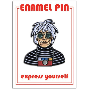 Andy Warhol enamel pin, Andy Warhol with camera and sunglasses