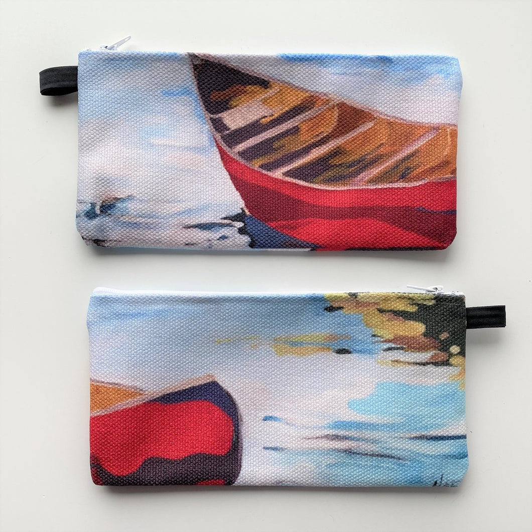 pencil case, Holly Ann Friesen Pencil case, red canoe, Canadian, pencil case,