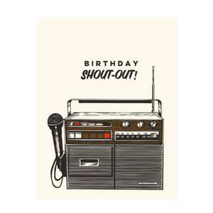 vintage radio illustration with mic with the words birthday shout-out! above it