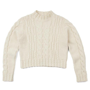 Women's Vintage Aran Cropped Cable Jumper