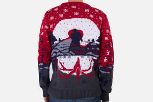 stranger things xmas jumper back modelled
