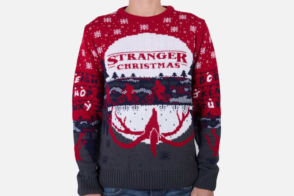 stranger things xmas jumper front modelled