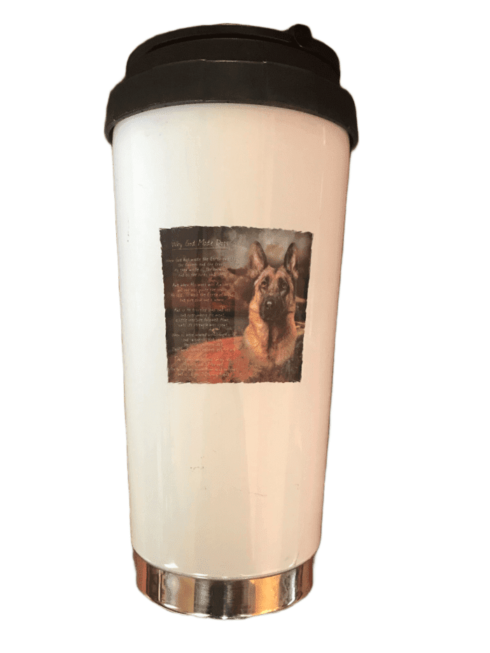 """Why God Made Dogs"" Insulated Coffee Cup (004)"