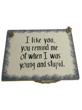 "Load image into Gallery viewer, ""When I Was Young And Stupid"" 5""X4"" Plaque"